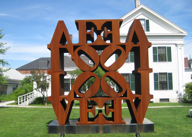 A Robert Indiana LOVE sculpture in Rockland Maine