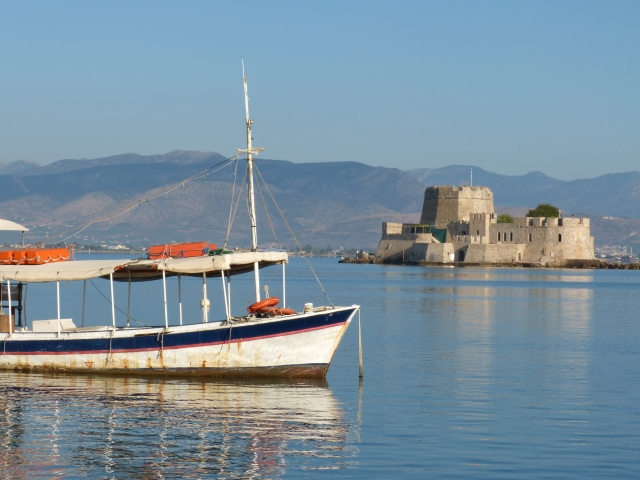Nafplio harbor scene early morning