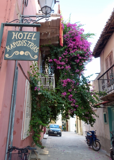 Nafplio hotel with bougainvillea
