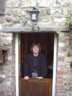 At the door of our first English cottage.